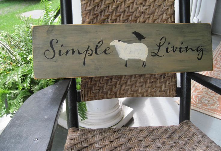 Primitive Wood Signs | Country Primitive Wooden Sign - Simple Living - sheep sign crow sign