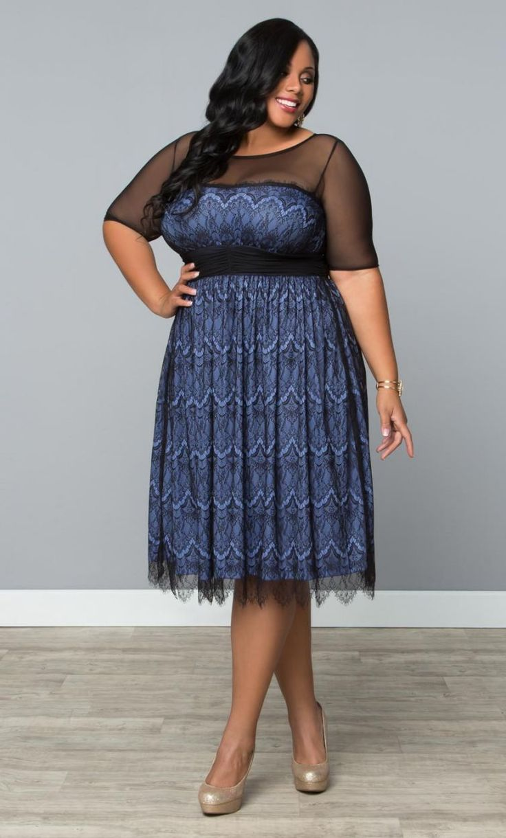 Vintage Dream Cocktail Dress - Pretty Periwinkle / Black Trendy Curvy | Plus Size Fashion | Fashionista | Shop online at www.curvaliciousclothes.com TAKE 15% OFF Use code: SVE15 at checkout