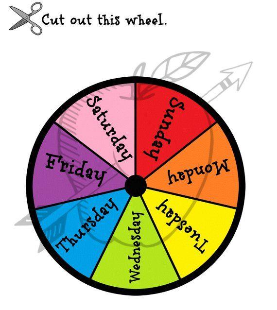 Days Of The Week Printable Wheel Circle Time Calendar Etsy Circle Time Calendar Time Time Printables
