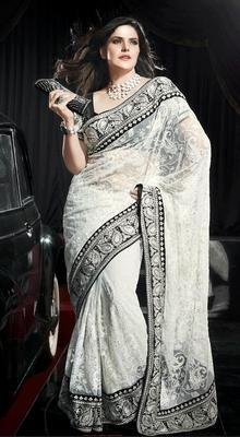 Glistening White Stylish Saree