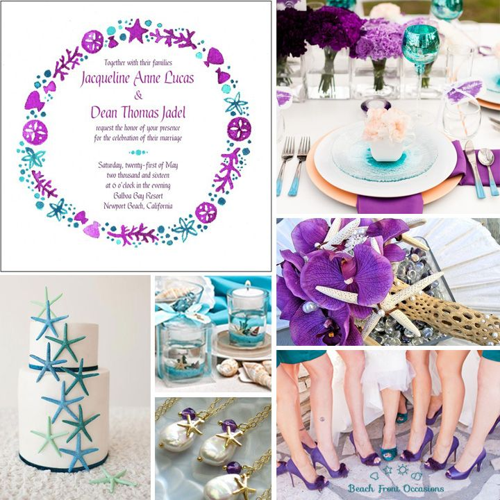 Purple and Teal Beach Wedding Inspiration with seashells and starfish from Beach Front Occasions www.beachfrontoccasions.com