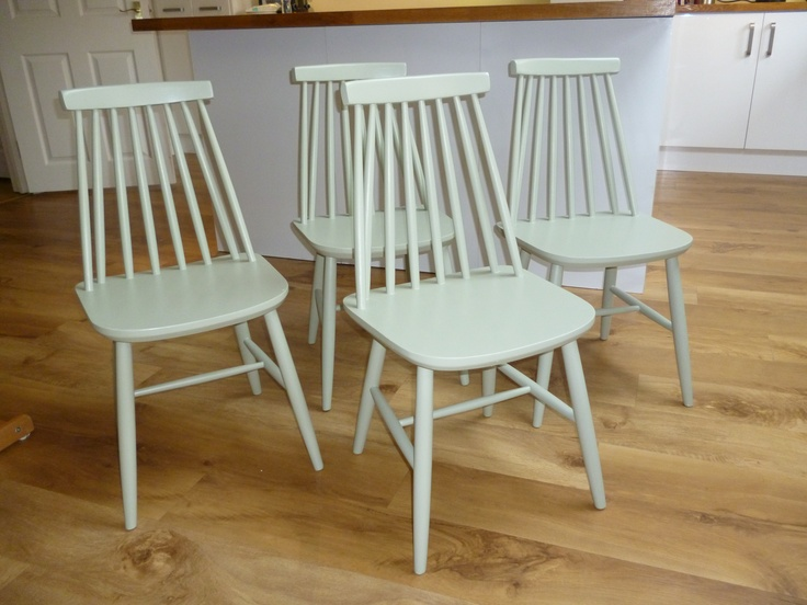 Beautiful vintage kitchen chairs upcycled in Farrow & Ball french grey