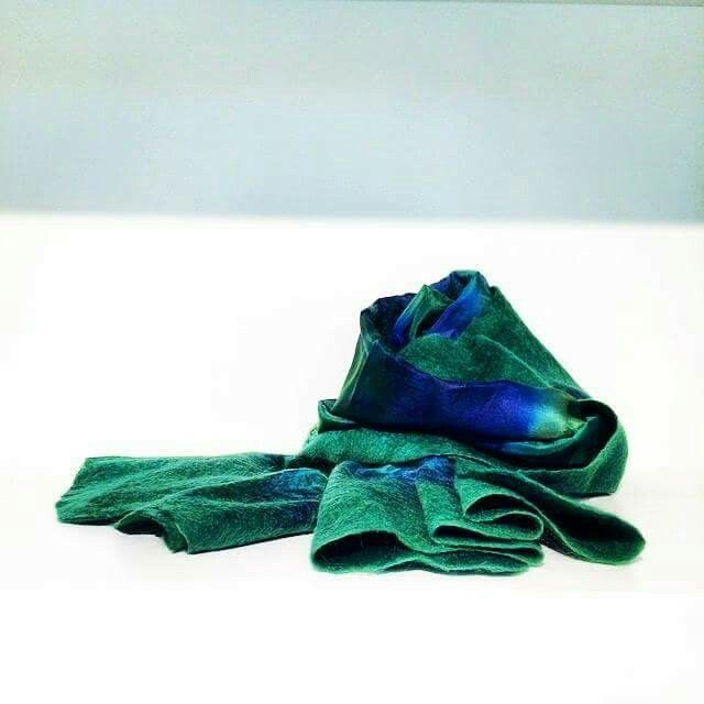 Handcrafted felted shawl, silk and wool. Contessina Exclusive Creations. www.contessina.gr