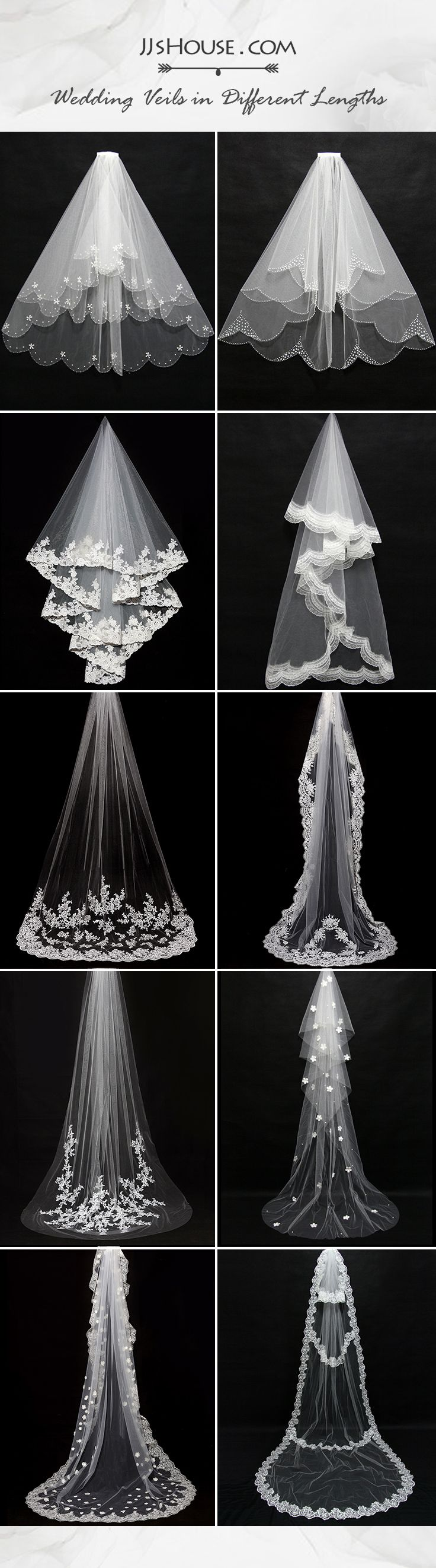 Ideas for wedding veil styles | Getting your wedding outfit perfect with a right wedding veil. #JJsHouse