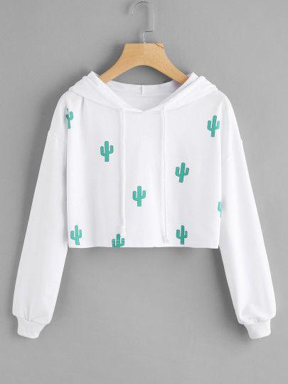 Sudadera corta con capucha con estampado de cactus
