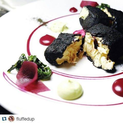 """""""Cuttlefish ink crusted salmon, saffron aioli and beetroot mousse. The salmon was crusted to a crisp and paired very well with the aioli and pickles on the side, whilst the beetroot created a tinge of sweetness. One of my fav meals while in #Athens and Radisson Blu Park Hotel""""  Photo and review by #foodie fan Fluffedup at Instagram"""
