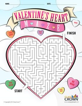 Free ClassCrown original: Valentine's Heart Maze for your students! Download it over at TpT.