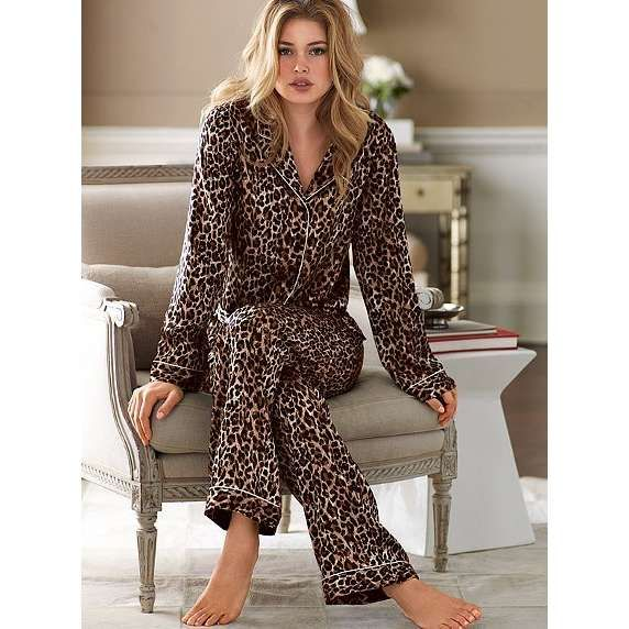 leopard makes most people feel sexy. your not fully made up when your going to bed & might feel insecure. how about you wear leopard print pajamas to make you feel sexier :)
