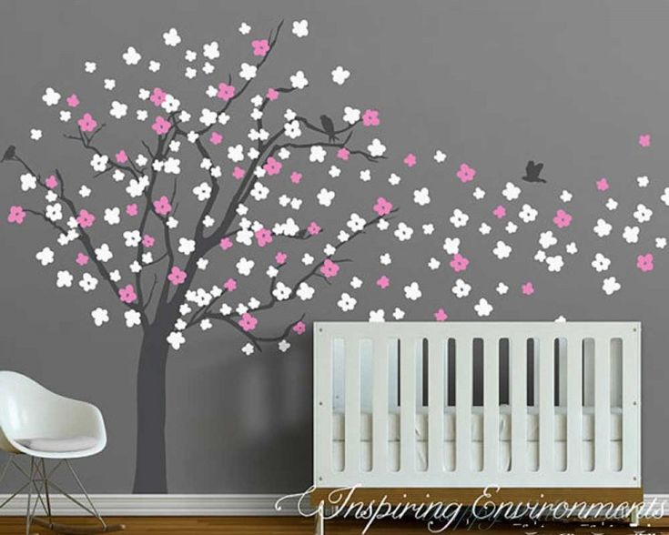 Best Wall Decals Images On Pinterest Nursery Wall Decals - Wall stickers for girlspink cherry blossom tree with birds wall stickers girls bedroom