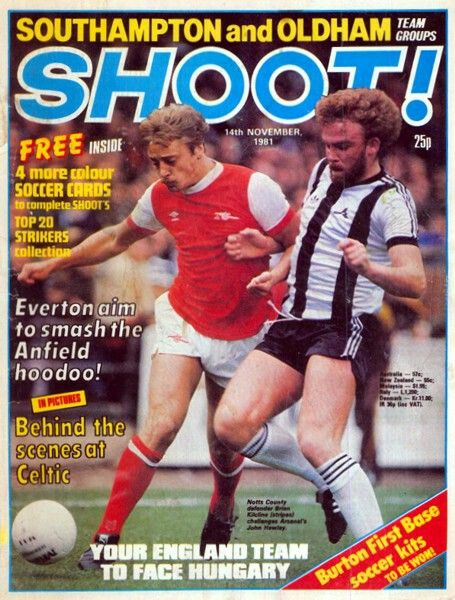 Shoot! magazine for June 1981 featuring Notts Co v Arsenal on the cover.