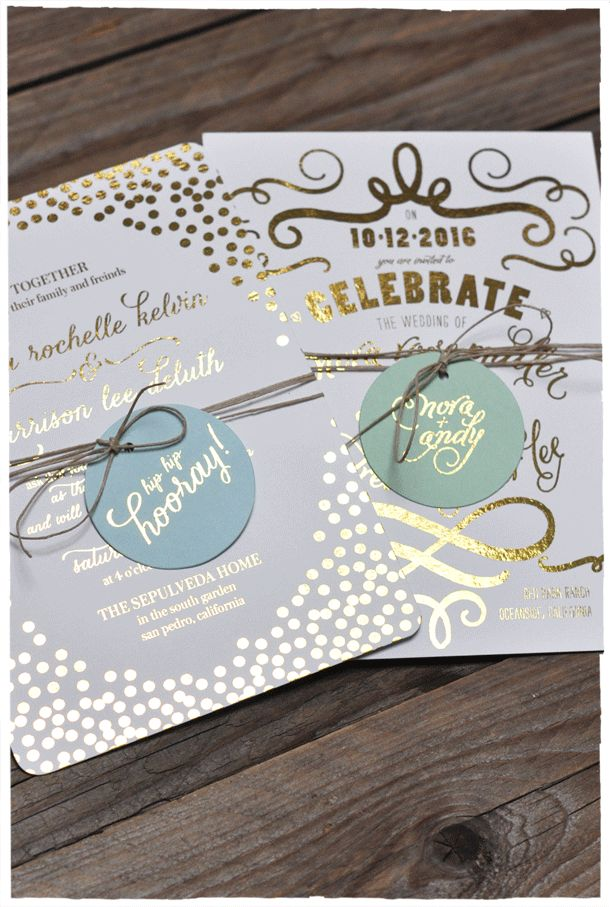 mini book wedding invitations uk%0A Gold Foil Invitations with Hang Tags