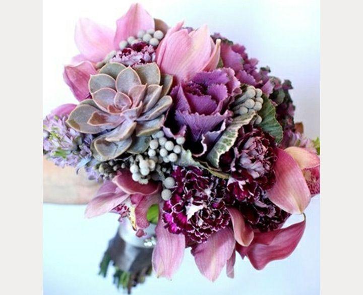 Flowering Purple Kale Wedding Bouquets & Centerpieces - Mon Cheri Bridals