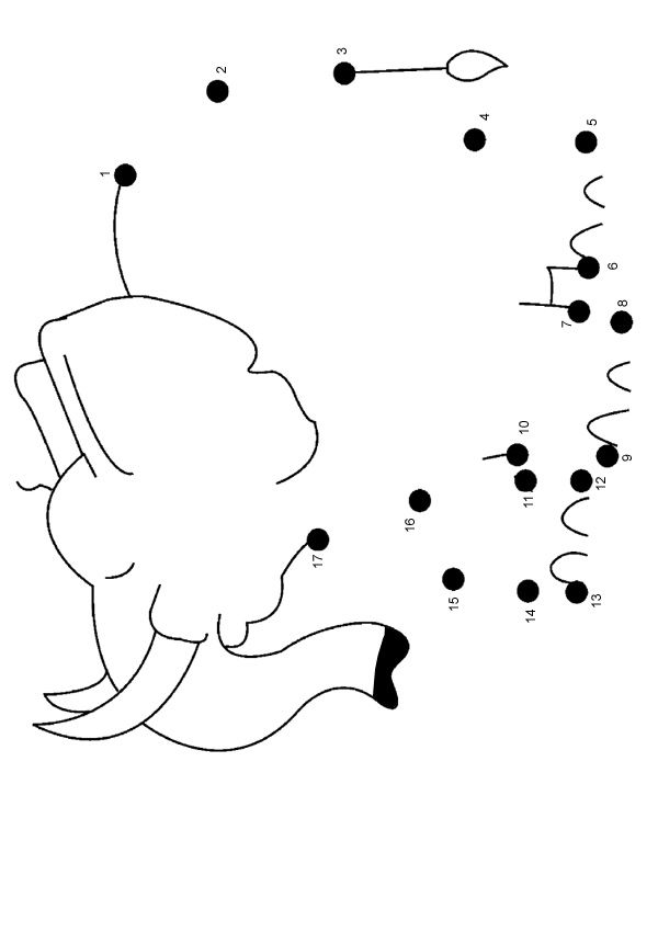 Free Online Printable Kids Games - Elephant Dot To Dot. Nice and simple for the smallest ESL learners.