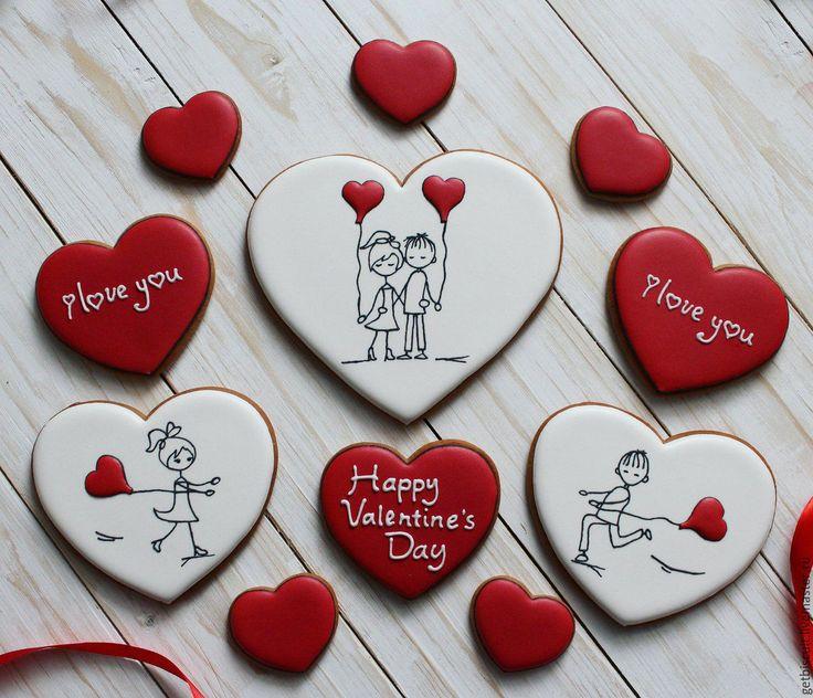 Купить Влюблённые человечки ) - имбирные пряники, День Святого Валентина, валентинов день, валентинка