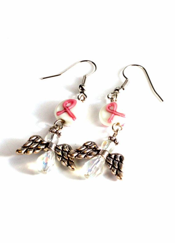 Breast Cancer Ribbon Angel Earrings by BeyondtheWire on Etsy