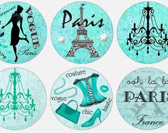 Bottlecap Paris Images / rose Français caniche Tour Eiffel