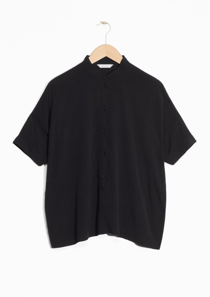 Other Stories image 1 of Oversized Buttoned Top  in Black