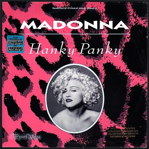 """""""Hanky Panky"""" was the second single from the Madonna/""""Dick Tracy"""" soundtrack album """"I'm Breathless"""". The song became a top 10 hit in many countries including the US. A live performance from the """"Blond Ambition Tour"""" was used as the music-video. The B-side,""""More,"""" is a Stephen Sondheim number which was performed in """"Dick Tracy"""". Madonna recites the materialistic-themed lyrics with irony, over a bouncy two-beat with tap-dancing during an instrumental break. (Vinyl LP)"""