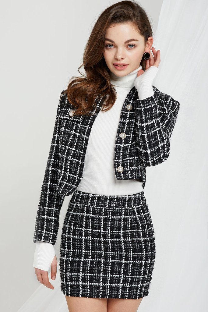61c21b4c09 Jacket: Tweed material Front button closure Decorative pockets Short length  Runs Small Skirt: Tweed material Zipper closure Slim fit Runs Small Short  tweed ...