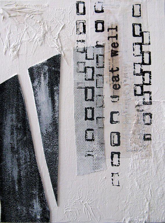 Mischtechnik Malerei Collage.  Schwarze und weiße Kunst mit Neujahr Auflösung.  Essen Sie gut.