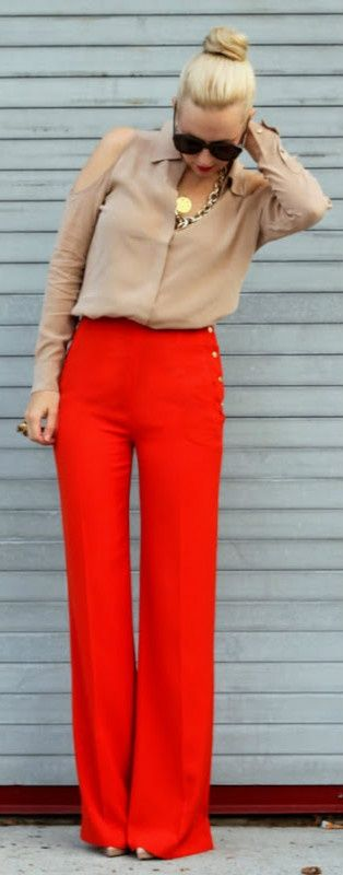 Neutral top with bright wide bottoms.