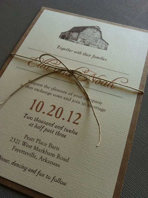 Rustic Barn Wedding Invitations by Forloveandpaper on Etsy, $2.00