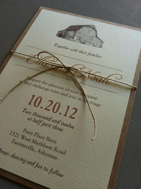 Rustic Barn Wedding Invitations by Forloveandpaper on Etsy, $2.00