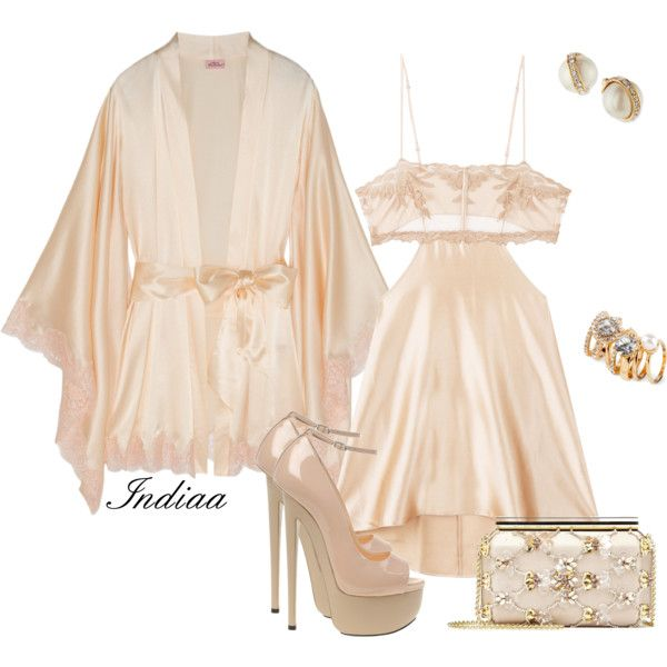A fashion look from October 2016 featuring Agent Provocateur robes, Giuseppe Zanotti pumps and Oscar de la Renta clutches. Browse and shop related looks.