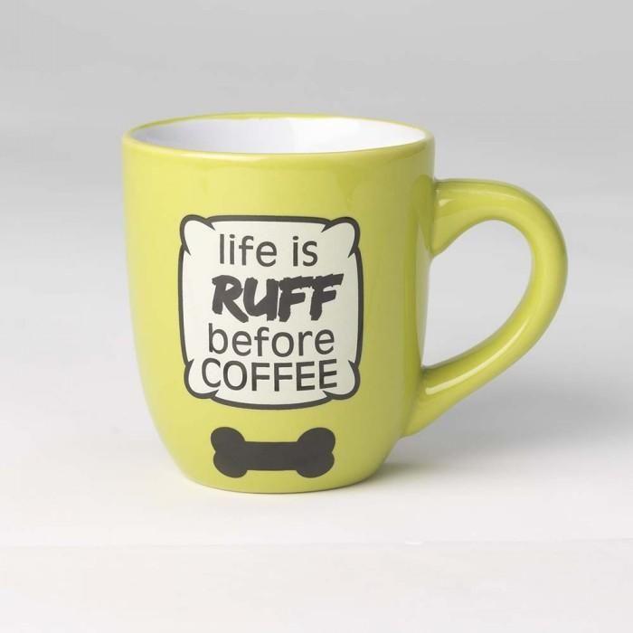 Life Is Ruff Before Coffee Large Mug Green Coffee Cup Tea Dogs Pets Ceramic Stoneware