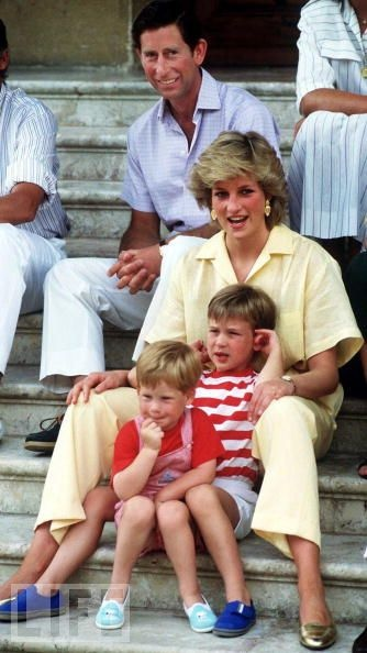 The prince and princess go on holiday with their children, Princes William and Harry, in Spain in 1987. Prince Henry, or Harry, was born Sept. 15, 1984, but the marriage was reportedly already beginning to fall apart.