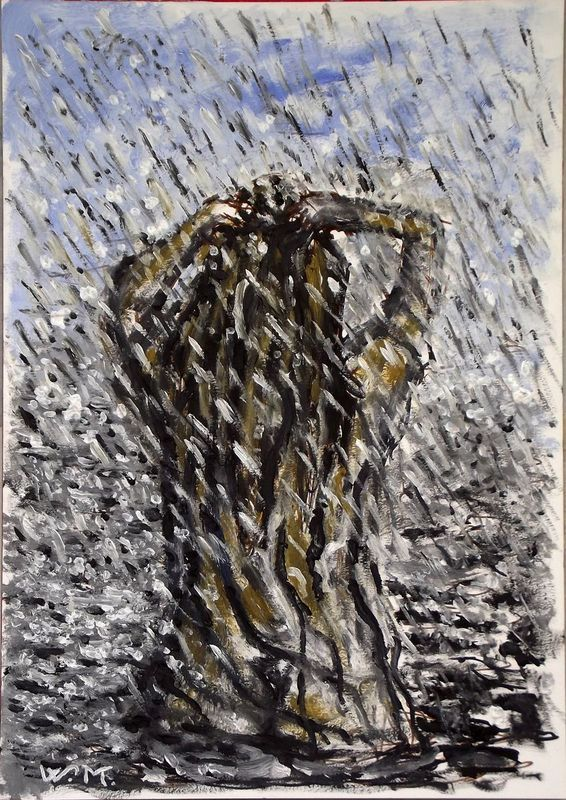 """RAINY LAKE GIRL , THE BATH - Thick oil painting - 29.5x42 cm"" by Wadih Maalouf. Oil painting on Paper, Subject: People and portraits, Expressive and gestural style, One of a kind artwork, Signed on the front, This artwork is sold unframed, Size: 29.5 x 42 x 0.1 cm (unframed), 11.61 x 16.54 x 0.04 in (unframed), Materials: Oil on paper"