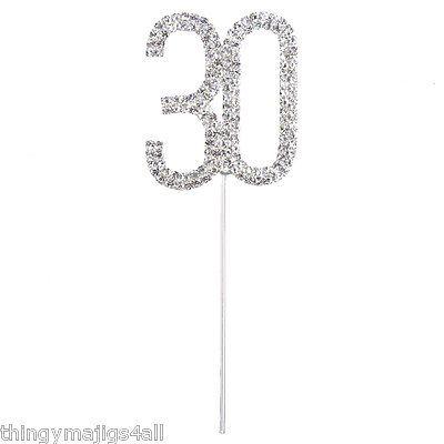 30 TH BIRTHDAY DIAMANTE CAKE TOPPER DECORATION 30th SILVER NUMBER ANNIVERSARY | - Zeppy.io