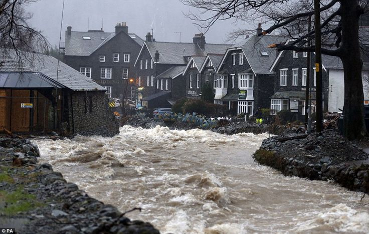 Gushing: A view of the Ulls Water in Glenridding, Ullswater, Cumbria, as Frank begins to b...