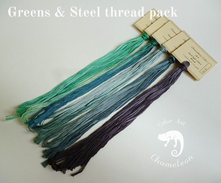 5 PCS Pure Cotton THREAD PACK Greens & Steel - 6 metres/6.5 yards each by ChameleonColorArt on Etsy