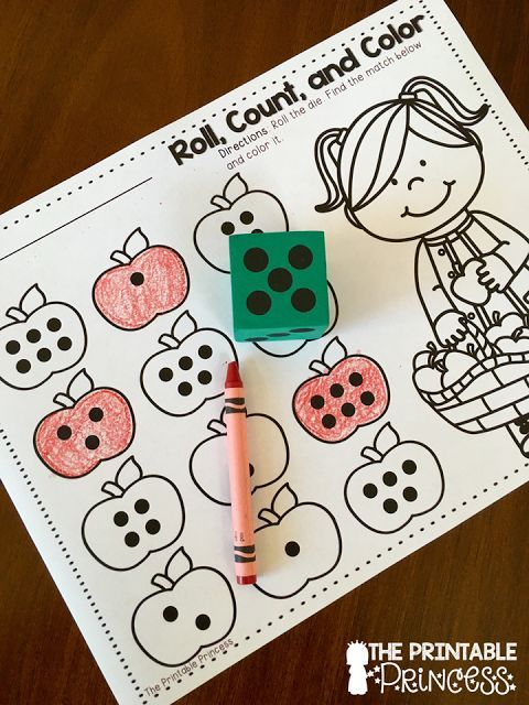 A fun no-prep activity! Roll the die and color the apple with the matching…