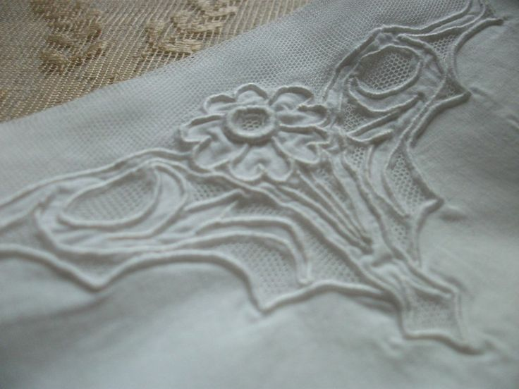 ANTIQUE FRENCH CHEMISE Cotton Petticoat Nightdress Slip Net Embroidery Monogram