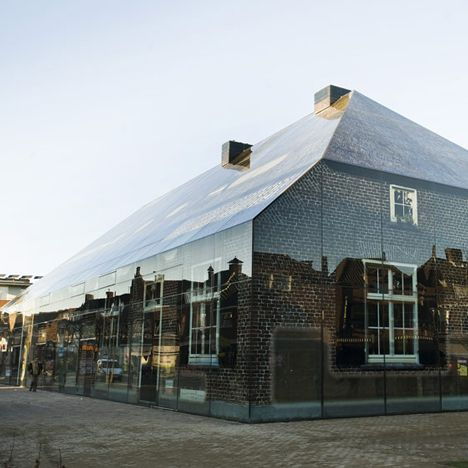 Glass farm by MVRDV. Printed image of traditional farm houses directly onto glass facade // bloody MVRDV and their weird ingenuity.