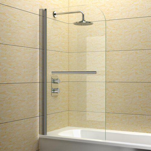 800 x 1400 mm Luxury Bath Shower Glass Bathroom Screen with Chrome Towel Rail - http://showerdoorspares.co.uk/complete-screens/complete-bath-screens/800-x-1400-mm-luxury-bath-shower-glass-bathroom-screen-with-chrome-towel-rail