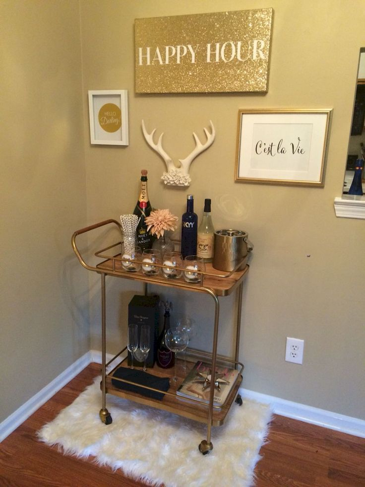 best 25 apartment bar ideas on pinterest diy home bar bar cart essentials and bar cart. Black Bedroom Furniture Sets. Home Design Ideas
