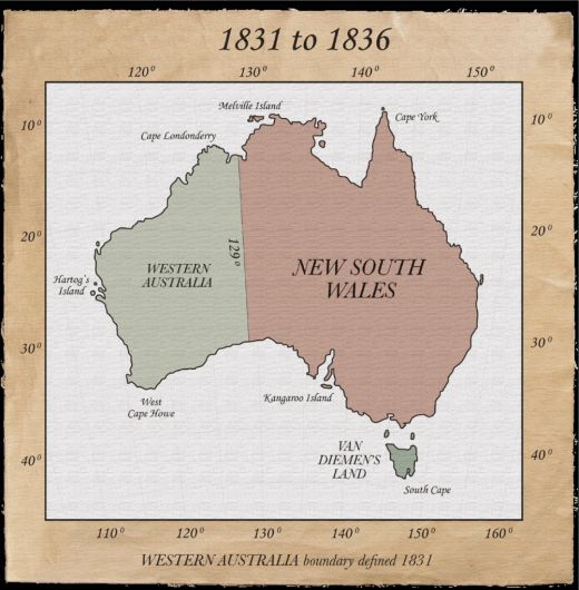 "A Nation sub-divided 1831 to 1836 In 1831, Captain James Stirling arrived to take control of the new colony of Western Australia. Image copyright ""Atlas of NSW 2010""."