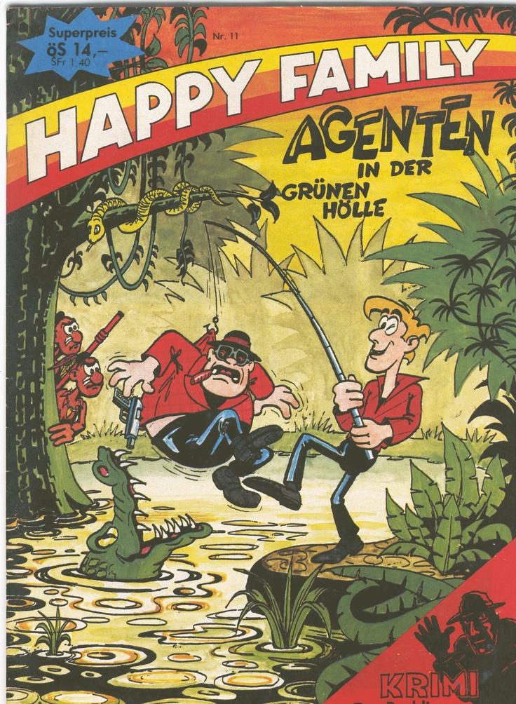 Happy Family was een stripblad dat onregelmatig in Oostenrijk verscheen. Graag had ik een stripverhaal voor dit amateurblad (?) willen maken maar wie er achter Happy Family schuilging is nog steeds een raadsel. Wel iemand met een dikke beurs, want de drukkosten van dit glossy blad moet hoger zijn geweest dan de verkoopopbrengst.