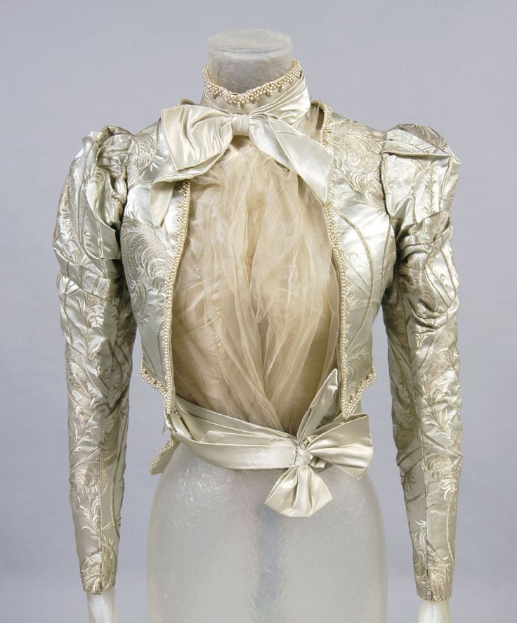 Philadelphia Museum of Art - Collections Object : Woman's Bodice c. 1900 Medium: Pale ice-blue and gold figured silk, silk tulle, silk satin, silk satin ribbon, beads