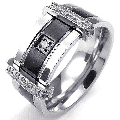 KONOV Jewelry Mens Cubic Zirconia Stainless Steel Ring, Charm Elegant Wedding Band, Black Silver, Size 8 KONOV Jewelry http://www.amazon.com/dp/B00MRT3CVQ/ref=cm_sw_r_pi_dp_ta7cub1J2AZX7