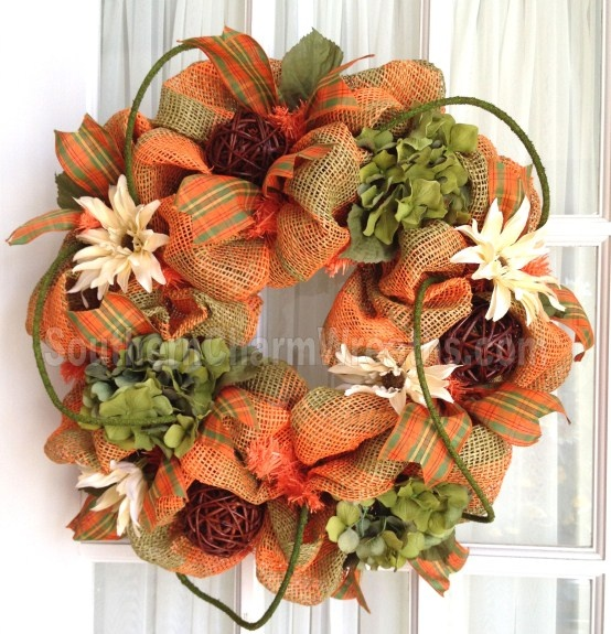 Burlap FALL Wreath Lime Orange Plaid Hydrangeas Moss Rope
