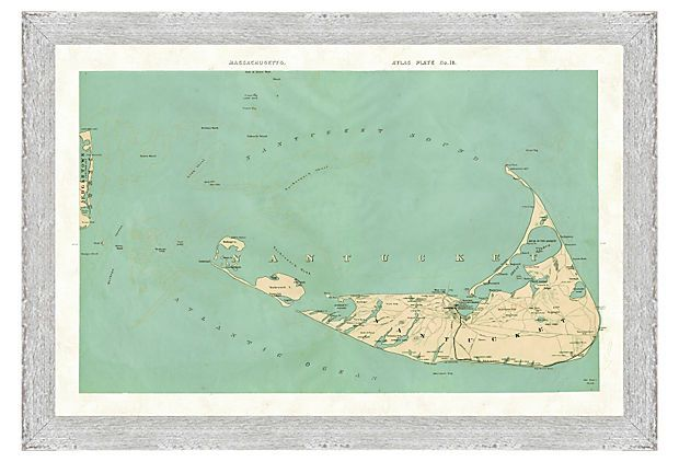Nantucket Map on OneKingsLane.com // A giclée reproduction of a Nantucket map, with the surrounding Atlantic Ocean and Nantucket Sound shown in a muted aqua. Printed on fine art paper and presented in a silver wood frame.