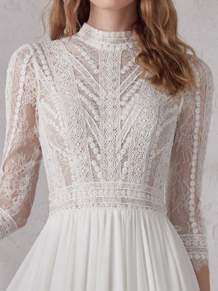 85 Stunning wedding dresses with amazing details, lace wedding dress,long sleeve…