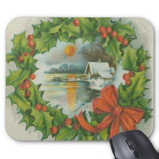 Vintage Christmas Wreath Town Mouse Pad