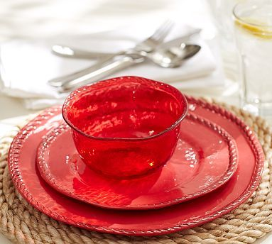 Rope Outdoor Dinnerware, Red (comes in other colors as well) #potterybarn