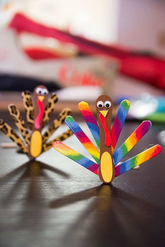 Popsicle Stick Turkey Thanksgiving Craft for Kids