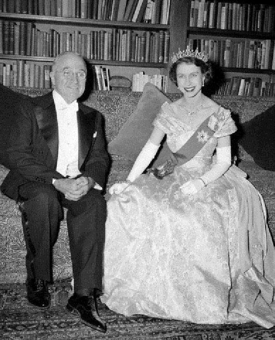 President Harry Truman and Princess Elizabeth in the Canadian Embassy in Washington on 1 Nov.1951, during formal dinner for the Trumans.